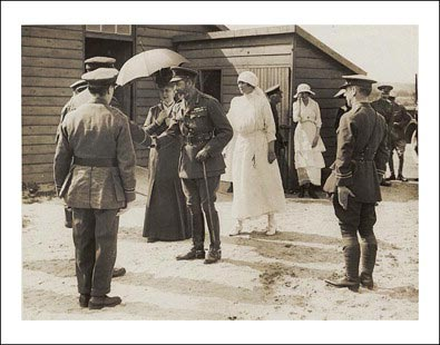 Millicent, Duchess of Sutherland receiving a visit from King George V and Queen Mary at her hospital near Calais (Endeavour, Volume 38, Issue 2)