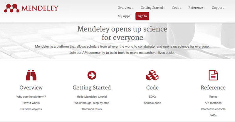 The Mendeley Dev Portal