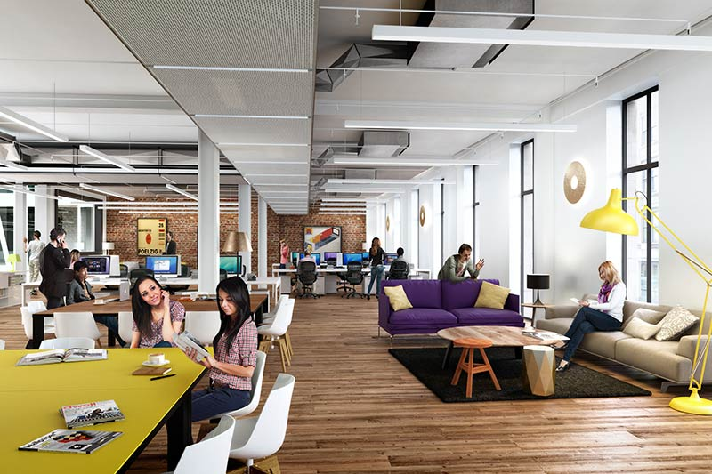 Artist's rendition of the office space Team Mendeley will move into.