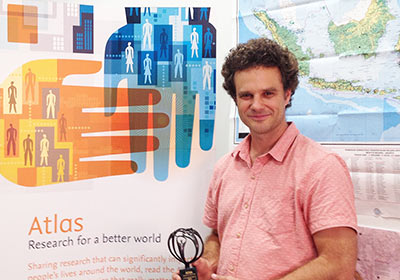 Dr. Jeffrey Nielson of the University of Sydney in Australia received the second Elsevier Atlas for his research into local coffee supply chains in Indonesia. Fiona Barron (Publisher, Elsevier Sydney) came to his university to present the trophy. On receiving it, Dr. Nielson said: It's really quite a beautiful piece of art. It was humbling to be considered as an author whose research 'can significantly impact people's lives around the world.'""