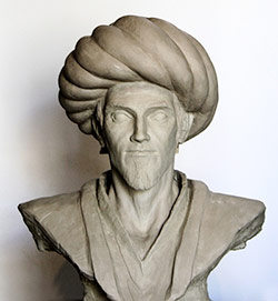 Photograph of a creative representation bust of Ibn al-Haytham made by artist Ali Amro for 1001 Inventions to celebrate the UNESCO International Year of Light 2015 (© 1001 Inventions)