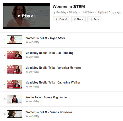 Mendeley's Women in Stem video series