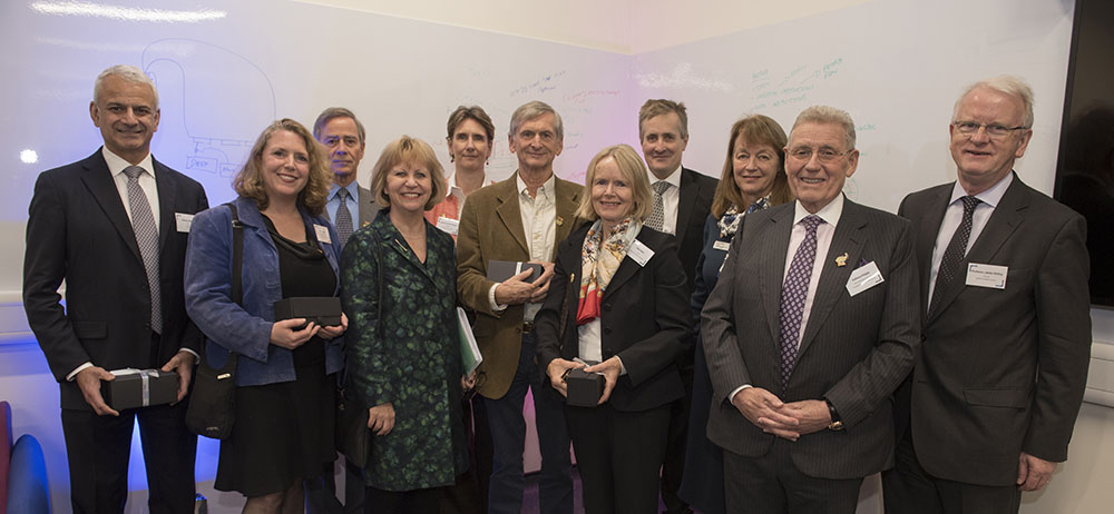 Imperial College London President Alice Gast (third from right) and Provost Dr. James Stirling (far right) join Prof. Maggie Dallman, Associate Provost Academic Partnerships (third from left), Elsevier CEO Ron Mobed (far left), Elsevier Foundation Director Ylann Schemm (second to left), and The Invention Rooms supporters from The Berkeley Foundation, Mohn Westlake Foundation and The Rayne Foundation.