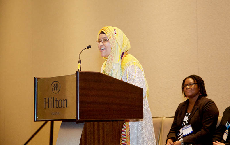 Dr. Hasibun Naher speaks about her research at the OWSD-Elsevier Foundation awards ceremony at the AAAS Meeting.