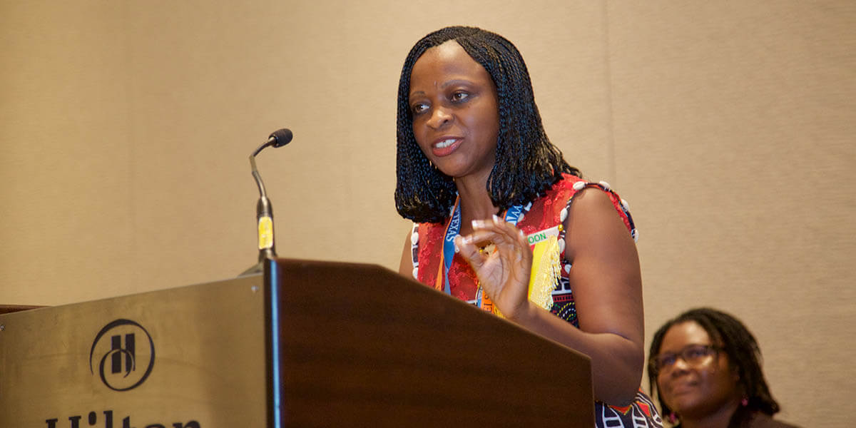 Dr. Germaine Djuidje Kenmoe, Associate Professor of Physics at the University of Yaoundé 1 in Cameroon, talks about her research before accepting the OWSD-Elsevier Foundation Award for Women Scientists in the Developing World at the 2018 AAAS Annual Meeting. (Photo by Alison Bert)