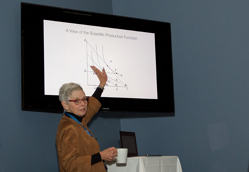 Dr. Marie Thursby, who moderated the workshop, explains her view of the scientific production function.