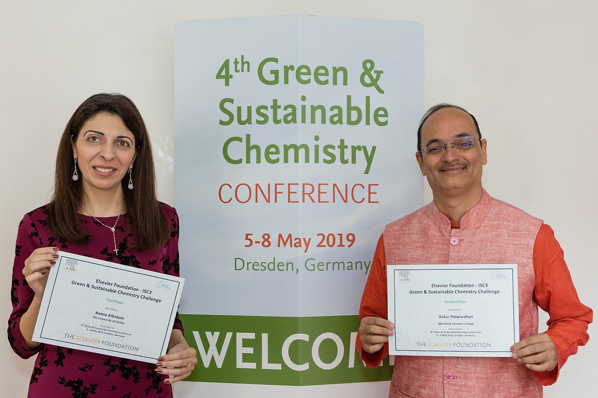 2019 Elsevier Foundation Green and Sustainable Chemistry Challenge Winners, Drs. Albakain and Patwardhan (right) (Credit: Jürgen Lösel)