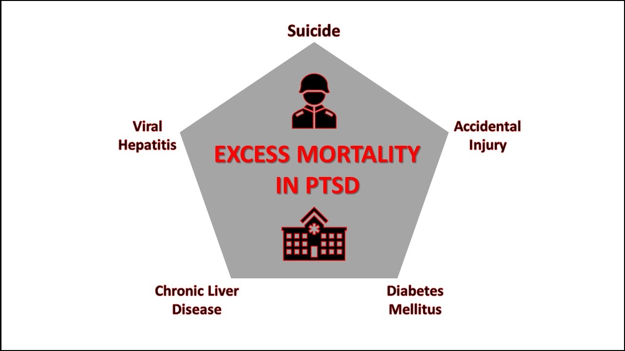 Illustration showing the leading causes of death in Veterans treated for PTSD