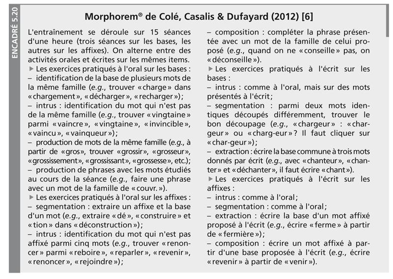 Encadré 5.20 : Morphorem® de Colé, Casalis & Dufayard (2012) [6]