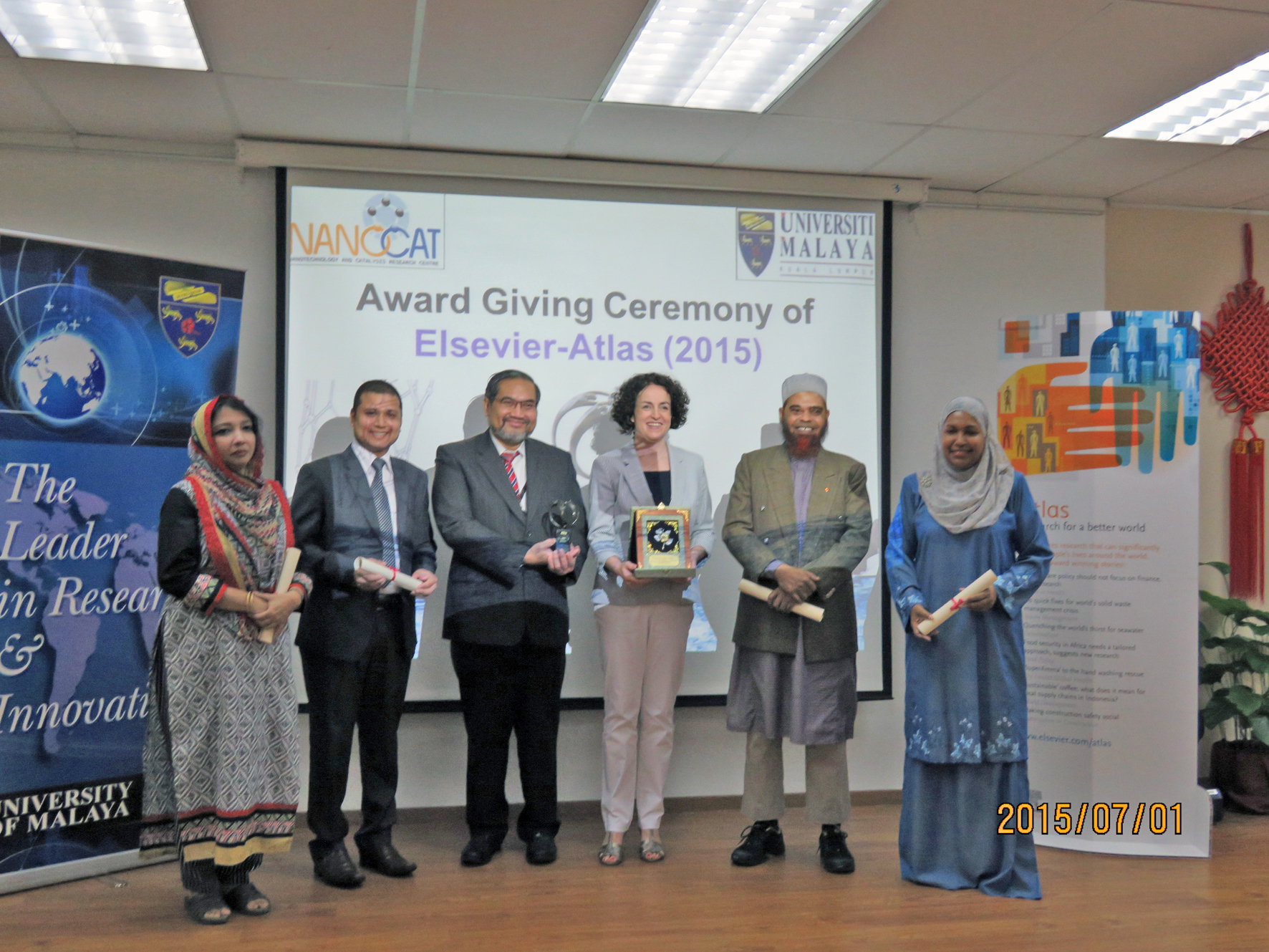Atlas Award ceremony, University of Malaya, 1 July 2015. From left to right: Zaira Zaman Chowdhury , Rasel Das, Awang Bulgiba Awang Mahmud, Deputy Vice Chancellor, University of Malaya, Louise Curtis, Publishing Director, Elsevier,  Md. Eaqub Ali, Sharifah Bee Abd Hamid