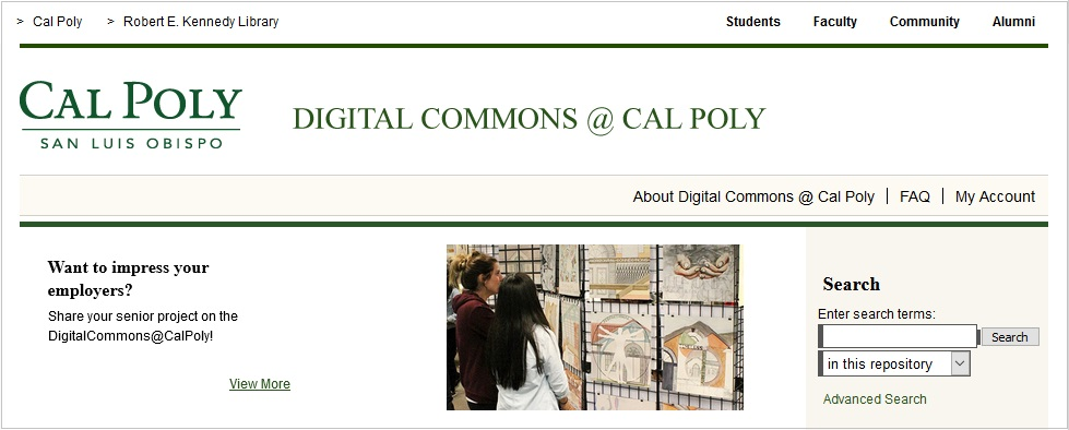 screenshot-homepage-of-cal-poly-repository-digital-commons | Elsevier