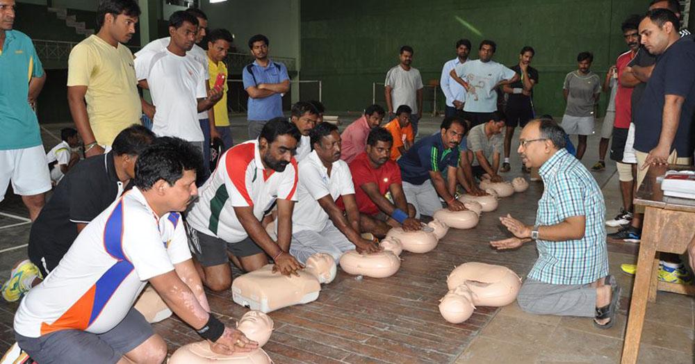 Dr Srinivas Ramaka teaches CPR