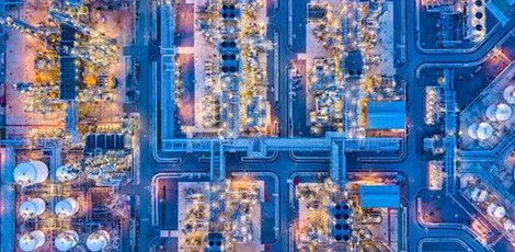 Oil and gas factory viewed from above