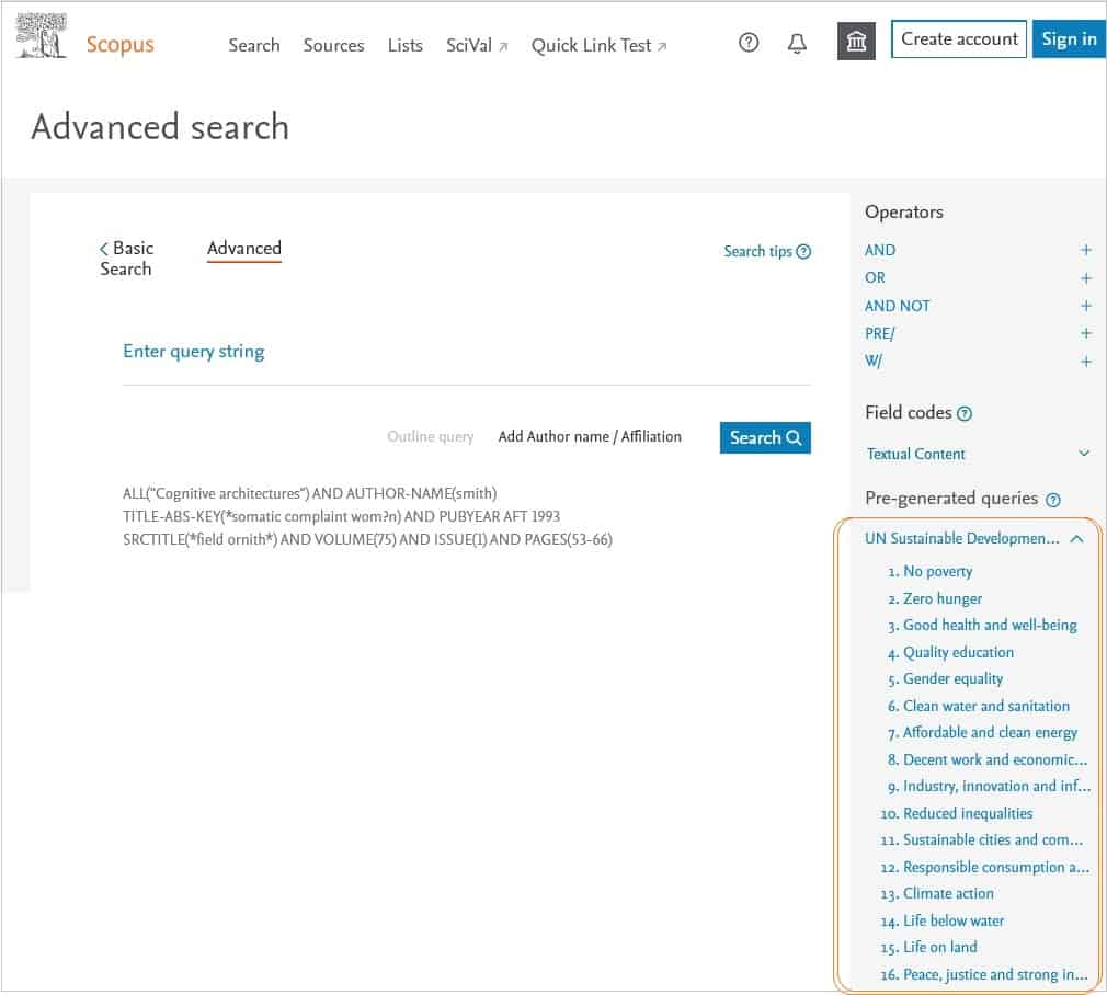 Screen shot of Scopus - Advanced search | Elsevier Solutions