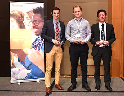The 2015 Reaxys PhD Prize winners: John Tellis (University of Pennsylvania), Andrew Jupp (University of Oxford) and Shin-nosuke Uno (University of Tokyo)