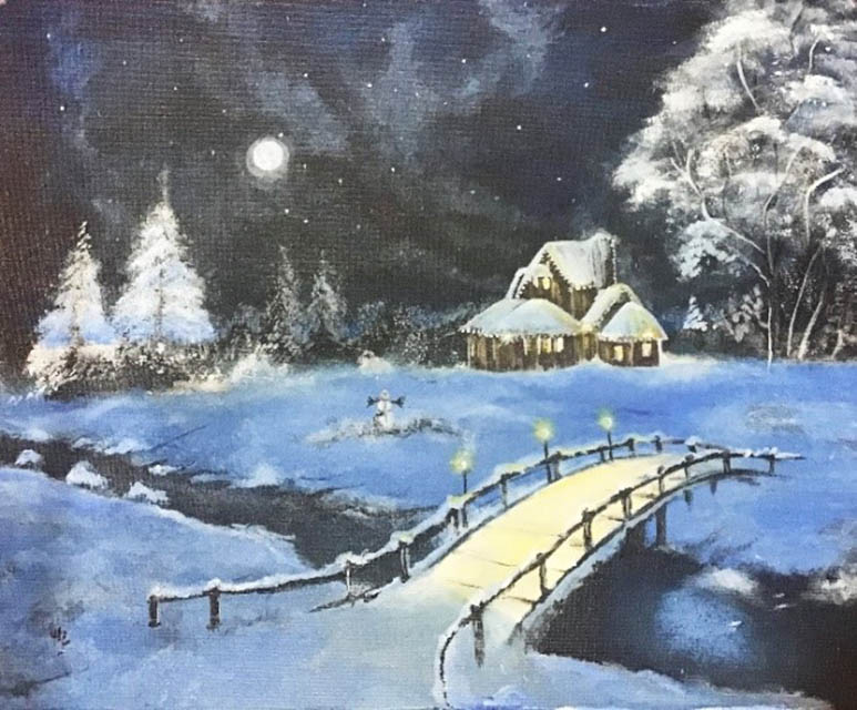 """WInter in Alaska,"" acrylic on canvas (Surya Suriyan, June 2020)"
