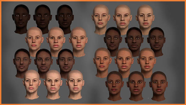 In this option, the user can choose various skin pigments and facial features.