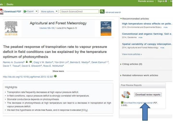 ScienceDirect visitors to articles from the journal Agricultural and Forest Meteorology can download the reviewer reports in the right hand bar.