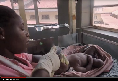 The midwife in the video is alone — a common situation in most developing countries, Dr. Data says.