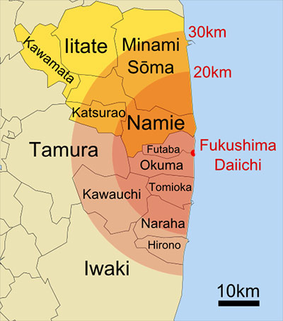 Towns evacuated around Fukushima on April 11, 2011 (Image by user Mayhew; derivative work derived from original work by user Lincun, CC-BY-SA 3.0 via Wikimedia Commons)