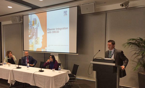 Elsevier Customer Consultant Steven Riddell demonstrates the Pure-ORCID integration at the Australian ORCID Town Hall on Feb 15.