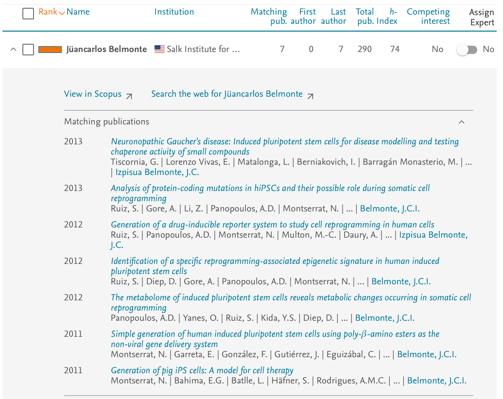 Access Scopus document details for matching publications