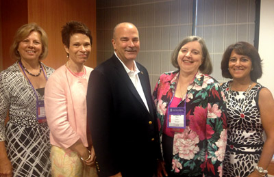 Deb Cleeter, Barbara Patterson, Tony Forrester, Ainslie Nibert and Bette Mariani presented the outcomes of the first cohort of the NFLA at the 24th International Nursing Research Congress in Prague, Czech Republic. (Photo by Christopher Capot)