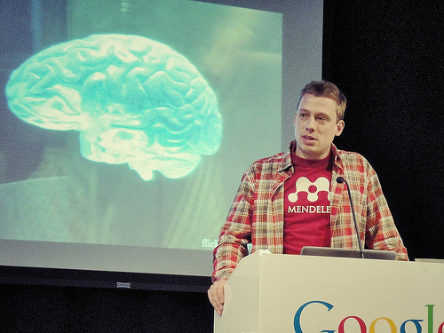 Mendeley co-founder Jan Reichelt, PhD, gives a presentation at last year's Social Media Week in London.