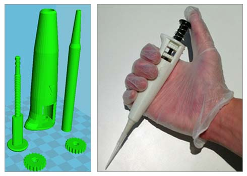 One of the many digital designs of working laboratory pipettes and the printed and assembled device developed by Thingiverse user lewisite and licensed under CC-BY-NC.
