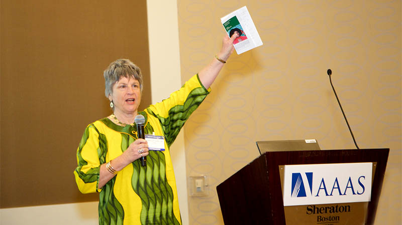 OWSD President Jennifer Thomson, PhD, Professor Emeritus at the University of Capetown, South Africa, talks about empowering women in science at the OWSD-Elsevier Foundation Award awards ceremony at the AAAS annual meeting. (Photo by Alison Bert)