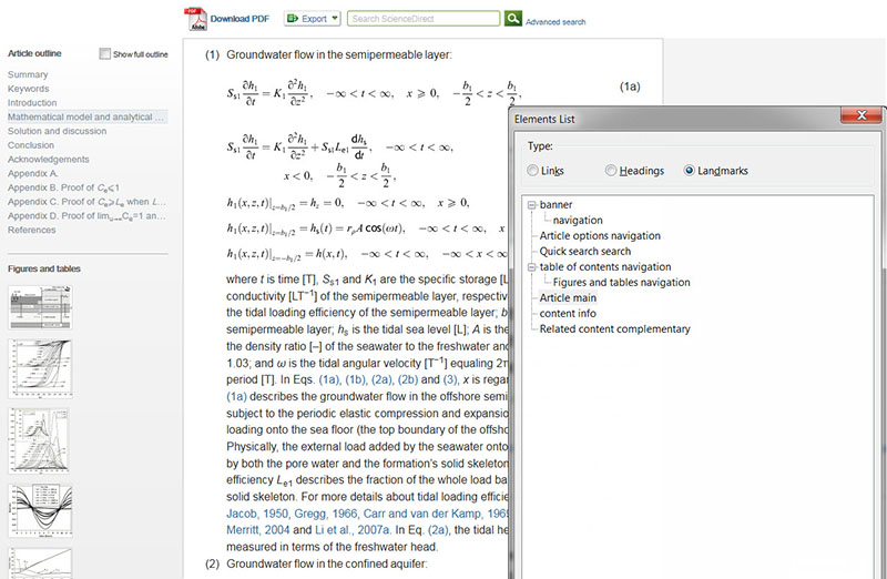 A journal article on ScienceDirect showing accessible math equations and the NVDA elements list – a way for screen reader users to locate the main regions of a web page.