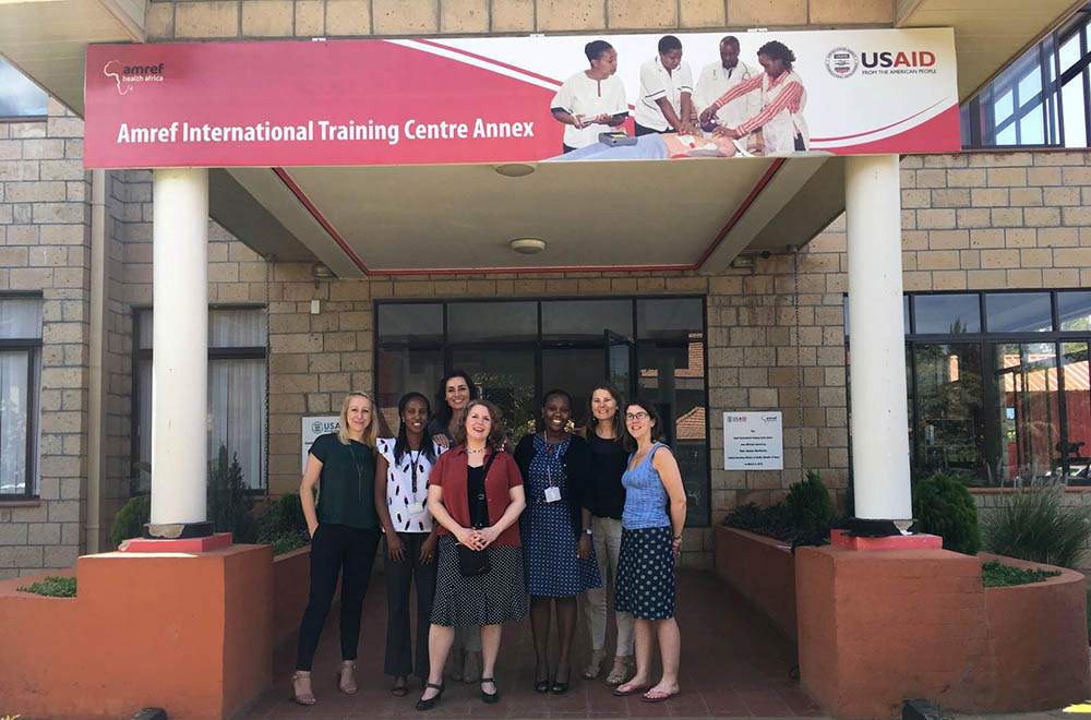 Ylann Schemm, Elsevier Foundation Director (center) and Zoe Mullan, Editor of The Lancet Global Health (right), visit the Amref Health Africa headquarters in Nairobi, Kenya, to learn more about the Jibu mobile learning project for nurses from eHealth Programme Manager Diane Mukami (third from right).
