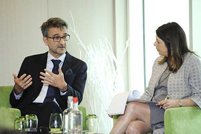 Moderator Elizabeth Crossick talks with panelist <a target=&quot;_blank&quot; href=&quot;https://ec.europa.eu/jrc/en/person/vladim%C3%ADr-%C5%A1ucha&quot;>Vladimir Šucha</a>.