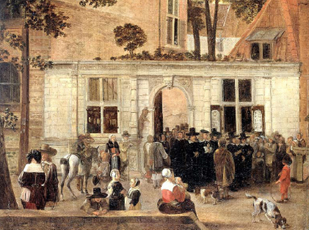 Side by side: The Elzevier book shop to the right of the ceremonial gate (white structure), the Academic Building of the University of Leiden to the left, in a painting by Hendrick van der Burgh.