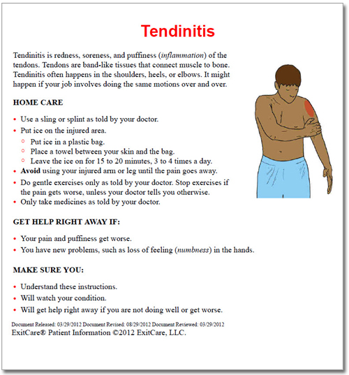 Tendinitis patient education document
