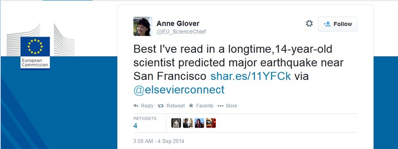 Tweet by Dr. Anne Glover, Chief Scientific Adviser to the European Commission