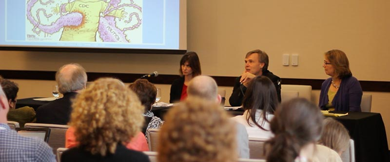 <strong>Hot Button Science Writing: Diving into Controversy and Politics.</strong> Coral Davenport of <em>The New York Times</em>, David Malakoff of <em>Science</em> magazine and Nancy Shute of NPR take part in a panel at the National Association of Science Writers (NASW) 2014 annual meeting. (Photo credit: Bec Susan Gill, Did Someone Say Science?)