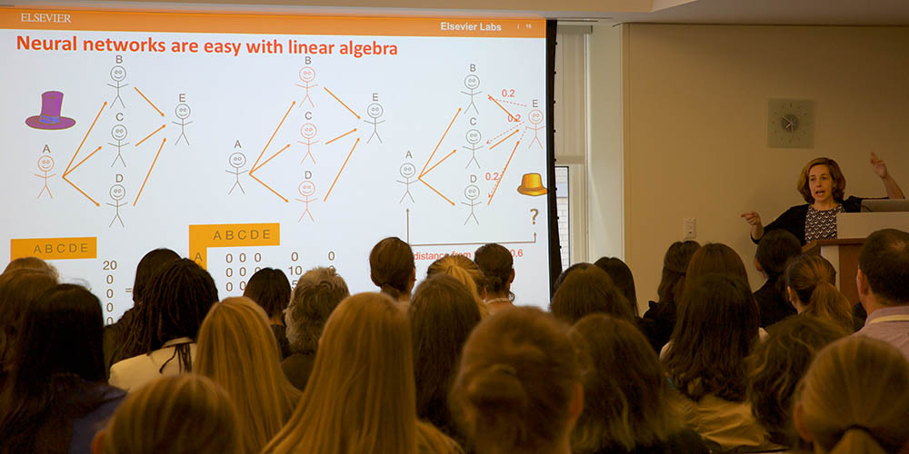 In her workshop on <em>Machine Learning and AI</em>, Dr. Helena Deus, Elsevier&rsquo;s Director of Disruptive Technologies, talked about why more women are needed to write the algorithms. (Photo by Alison Bert)