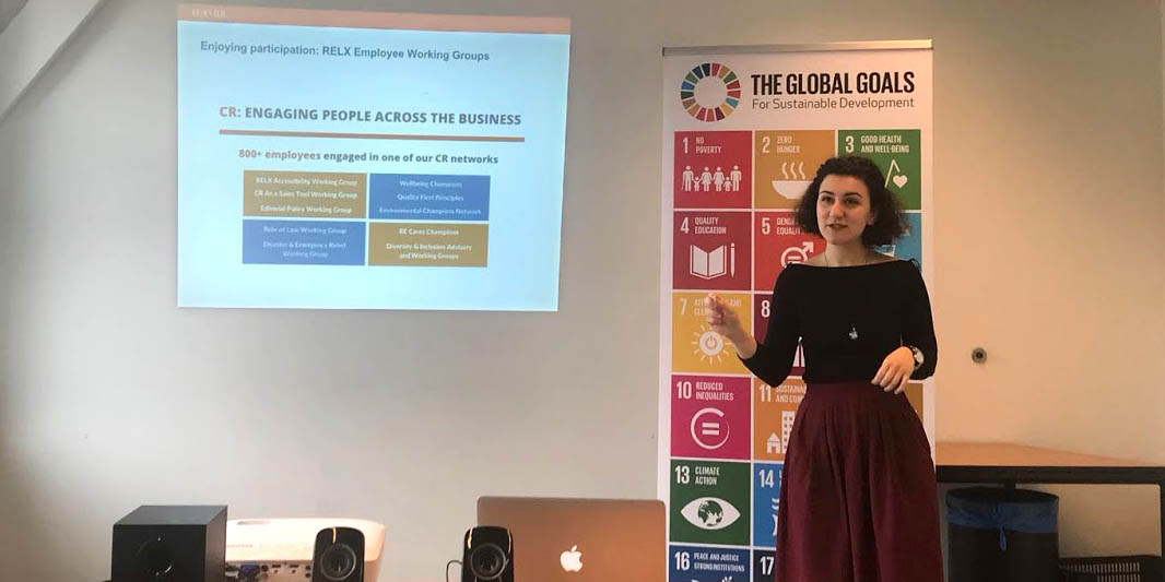 "Georgiana-Simona Baciu, the author of this story, gives a keynote: ""Achieving the SDGs – what can businesses do?"" (Credit: AIESEC in the Netherlands)"