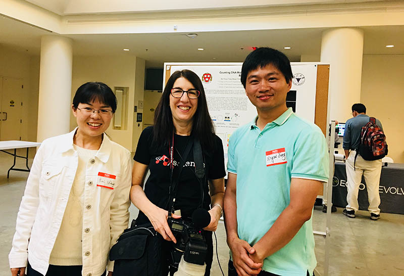 Dr. Alison Bert, who covered the event as an Executive Editor at Elsevier, poses with Rui Wang, a PhD candidate in Harvard's School of Engineering and Applied Sciences, and her colleague Dr. Xingcai Zhang, a postdoctoral researcher at SEAS.