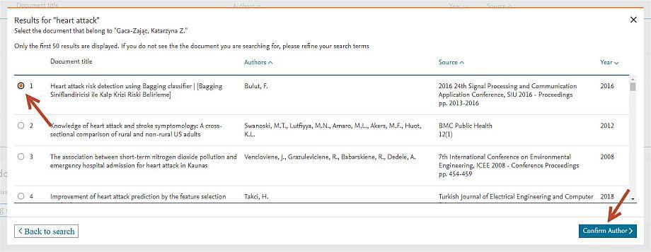 Dodawanie publikacji z listy wyników wyszukiwania