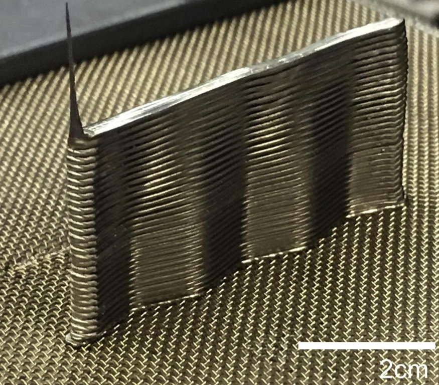 Example of a part printed from bulk metallic glass using 3D printing technology for metal