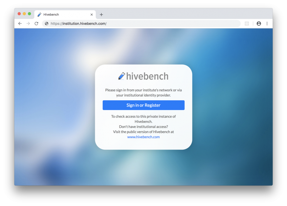 screenshot of Hivebench Sign In page