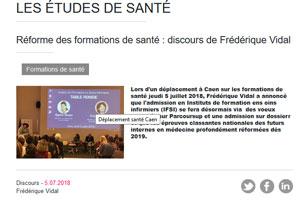 Admission en IFSI via Parcours Sup : discours de la ministre