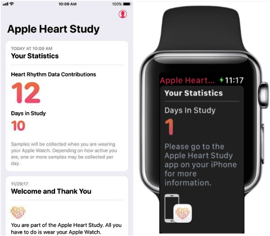 Image of the Apple Watch and a screenshot of the study app