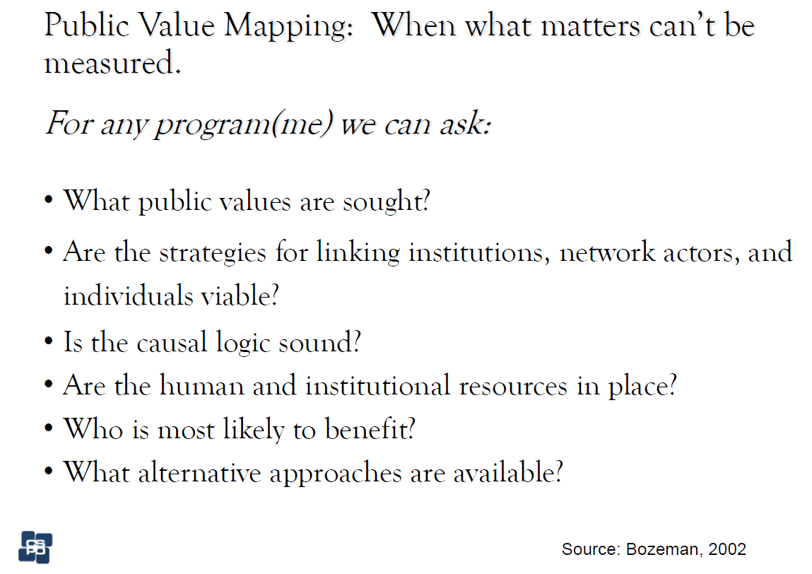 Here are some questions to ask as part of the Public Value Mapping process. (Source: Bozeman, 2002)