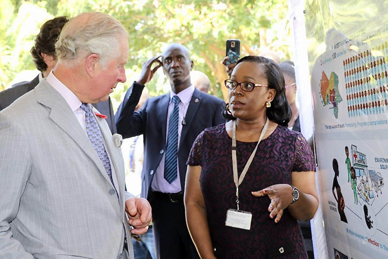 Dr. Uduak Okomo presents her research to Prince Charles when he visited her institution in The Gambia.