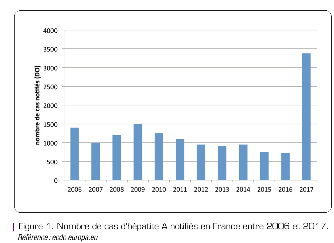 Figure 1. Nombre de cas d'hépatite A notifiés en France entre 2006 et 2017.