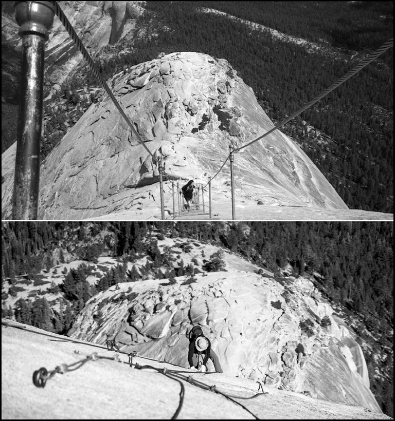 Two images showing Half Dome's cables in the upright position (May–September) [top image] and down position (off-season) [bottom image].