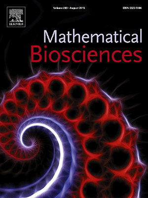 The cover of Mathematical Biosciences represents the shell of the nautilus (a mollusc), which is divided into chambers by partitions called septa. Only the last-formed chamber is occupied by the living cephalopod. Its particular shape has fascinated mathematical biologists.